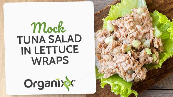 Faux Tuna Salad in Lettuce Wraps (vegan option)