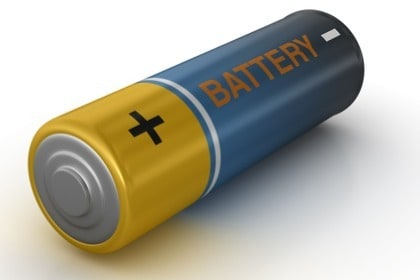 double A battery on white background