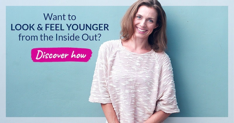 Want to look & feel younger from the inside out. Banner to Organixx's Anti-Aging Essentials sales page