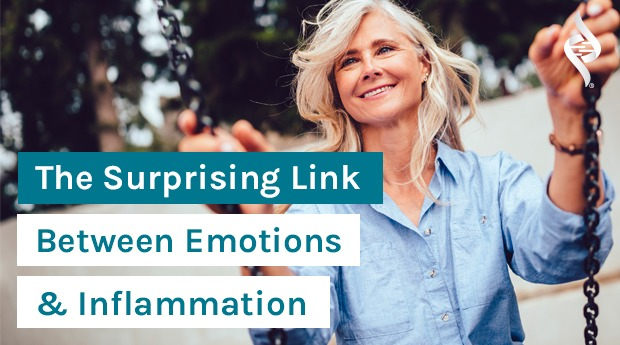 The Surprising Link Between Your Emotions and Inflammation Levels & a mature happy woman on swing