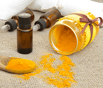 Turmeric essential oil is bright yellow orange