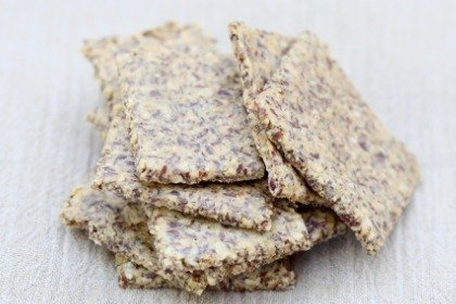 stack of homemade flax crackers